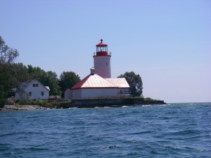Nine Mile Point Lighthouse on the western tip of Simcoe Island.